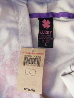 Lucky Brand Asian Ivory HOODIE Lotus Flower Pastel Print PULLOVER