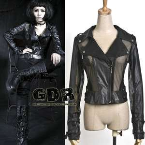 BLACK PUNK VISUAL KEI GOTHIC Y396 MANMADE LEATHER RUFFLE JACKET S XL