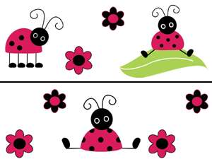 LADYBUG LADY BUG FLOWER BABY WALL BORDER STICKER DECALS