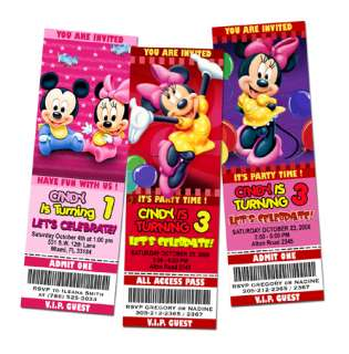 MOUSE MINNIE BIRTHDAY PARTY INVITATION TICKET PINK BABIES BABY 1ST  C4
