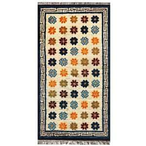 EXP 5 x 26 Hand Knotted Tibetan Wangden Lotus Flower Wool Area Rug