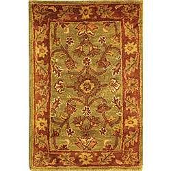 Handmade Taj Mahal Green/ Rust Wool Rug (2 x 3)