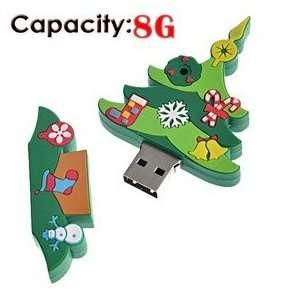 8G Rubber USB Flash Drive with Christmas Tree Shape (Big