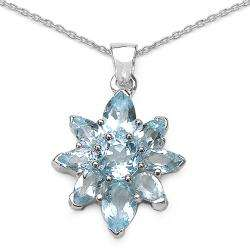 Sterling Silver Blue Topaz Flower Necklace