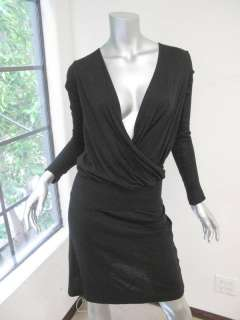 James Perse Black Long Sleeve Cross Neck Ribbed Waist Dress 1