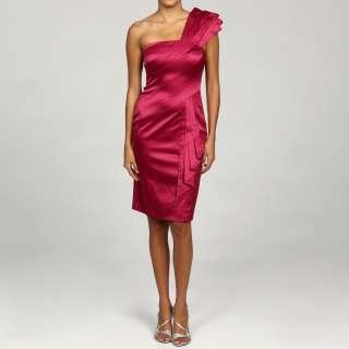 Jessica Simpson Womens Pink One shoulder Satin Dress