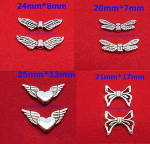 50PCS SILVER ANGEL WING/DRAGONFLY/BUTTERFLY SPACER BEADS CHARMS