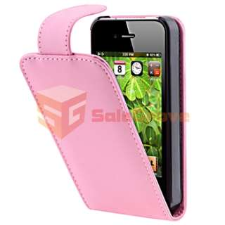 Leather Skin Case+Car Holder+Charger For iPhone 4 4G Gen 4S