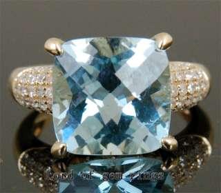AQUAMARINE Solid 14K YELLOW GOLD Pave .54ct DIAMOND Engagement RING