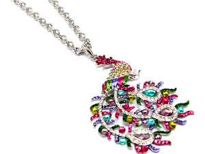 SILVER MULTI COLOR CRYSTAL PEACOCK STATEMENT NECKLACE