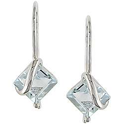 10k White Gold Square cut Aquamarine Earrings