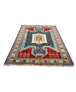 Indo Kazak Hand knotted Red/Blue Rug (12 x 18)