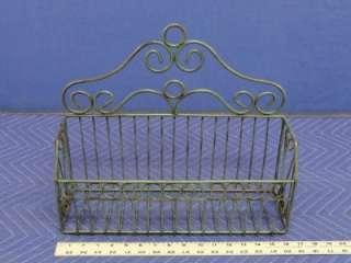 Vintage Looking Green Metal Hanging/Table Top Basket C16