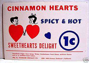 Cinnamon Hearts 1 Cent Gumball Vending Machine Card Old