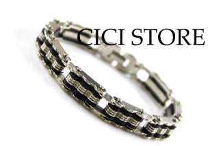 Mens Biker Chain Bracelet Stainless Steel Black Silver Bones Bangle