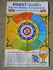 1975 pabst blue ribbon beer dartboard calendar poster sign pbr