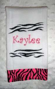 New Handmade Personalized Embroidered Pink Baby Girl Burp Cloth Gift