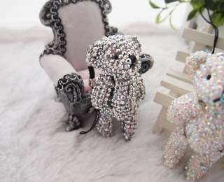 Handmade Bling Gemstones Crystal Teddy Bear Cell Phone Strap Charm  3
