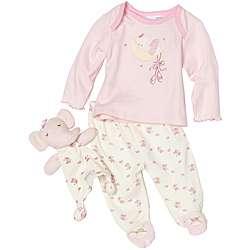 Vitamins Baby Girls Elephant Footed Pajama Set with Blanket Buddy
