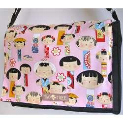 Medium Black Japanese Kokeshi Doll Messenger Bag