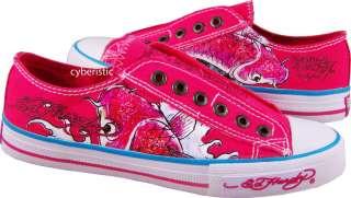 Womens Ed Hardy Fuschia Pink Koi Fish Shoes 6 7 8 9 10