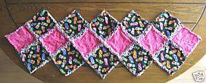 RAG QUILT TABLE RUNNER~HANDMADE~HOT PINK & FLIP FLOPS