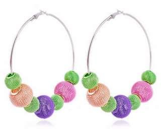 Beads Bling Mesh Basketball Wives Earrings DIY Big Hoop W32620