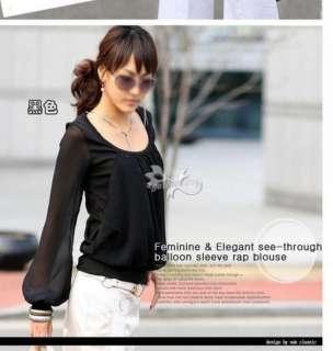 FASHION ON MOON FANCYQUBE Round Neck Chiffon Blouse Shirt Top 0120