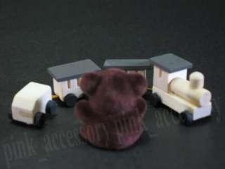 Dollhouse Miniature Wooden Train Set Toy