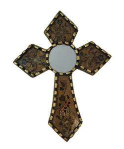 Handcarved Reverse Painted Cross with Mirror (Peru)