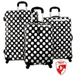 Heys USA Exotic Polka Dot 3 piece Hardside Spinner Luggage Set
