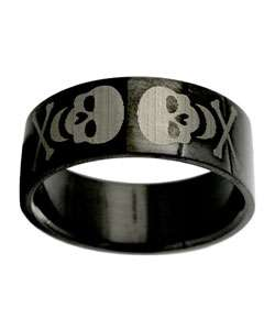 Black Stainless Steel Etched Skull Ring (Case of 2)