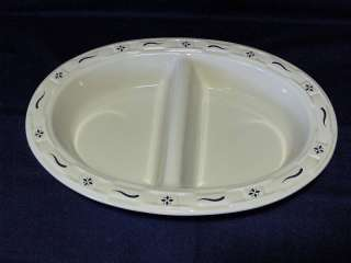 Longaberger Woven Traditions Classic Blue Divided Serving Dish