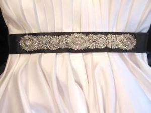 Bridal Wedding Dress Gown Buckle Crystal Belt Sash Trim