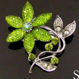 1pc Austrian rhinestone crystal flower brooch pin