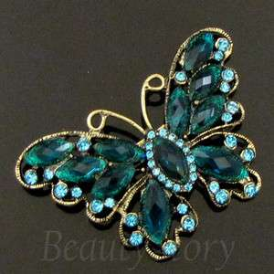 1 pc antiqued rhinestone butterfly brooch pin