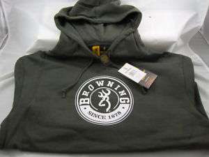 BROWNING HOODED SWEATSHIRT BUCKMARK HOODIE MIL GREEN