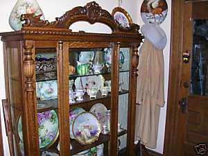 antique quartersawn oak china cabinet griffin crest wow