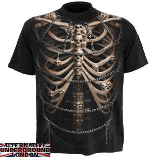 SPIRAL DIRECT SKULL CAGE T SHIRT RIBCAGE SKELETON CHAINS RIBS ALLOVER