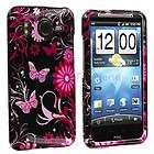 Pink Butterfly Hard Skin Case Cover for HTC Inspire 4G