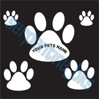 Lrg Pawprint w Pets Name Set Paw Car Vinyl Window Decal