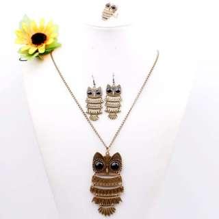 Bronze OWL Pendant Long Chain Necklace Earrings Ring ~ 1 Set