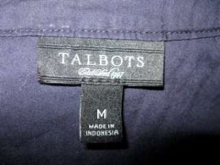 Talbots Navy Blue Cotton Blouse Peasant Long Size Medium 8 10 Thin