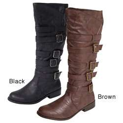 Journee Collection Womens Faux Leather Buckle Boots