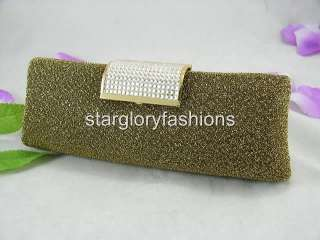 Gold/Black Shiny Fabric Clutch Crystal Exquisite Solid EM 071309
