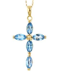 14k Yellow Gold Marquise Blue Topaz Cross Necklace