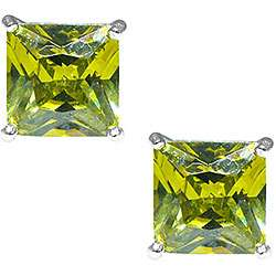 Sterling Silver Light Green Cubic Zirconia Stud Earrings