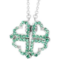 Sterling Silver Green CZ Heart Necklace