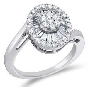 Size 9.5   14K White Gold Diamond Halo Engagement OR Fashion Right
