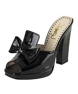 Yves Saint Laurent Black Patent Leather Mules